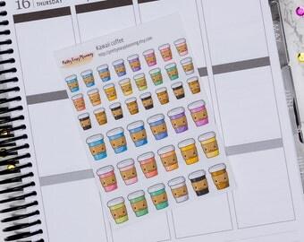 Kawaii Coffee Cups - Icon Stickers - Erin Condren - Filofax - Happy Planner - cute planner stickers - multicolor stickers