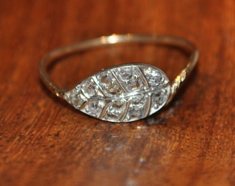 0.17ct Old European cut Diamond 14ct gold Victorian ring Valuation 1.350K Size M1/2 US 6.5 Stamped 14k 1.00gm