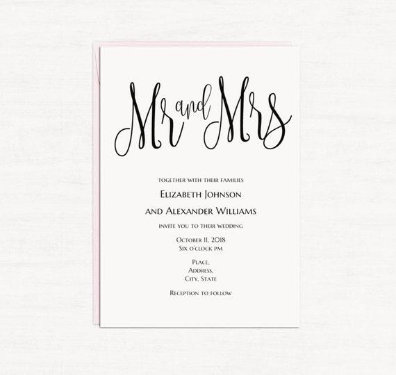 Minimalistische Hochzeit Einladung Vorlage Schwarz Weiß Kalligraphie Hochzeit  Einladung Digital Download Herr Und Frau Lädt Druckbare T140