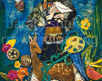 Frida Kahlo Art Print  FRIDA De NAVIDAD from my original art collage, ACEO, note card, 8 x8 inch print