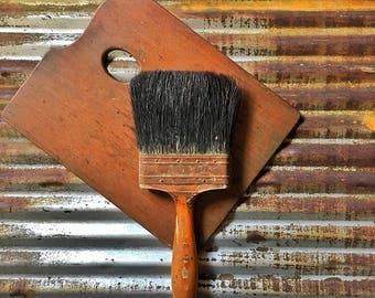 Vintage Paint Brush, Large Wood Handle Natural Bristle Brush, Painter's Brush