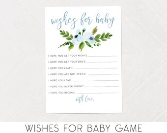 Boy Wishes for Baby Shower Game, Baby Shower Wishes, Watercolor, Floral, Flower, Printable Games [498a]