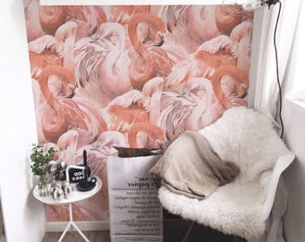 Flamingo wallpaper, Tropical pink wall mural, custom Printed Removable Self Adhesive paper by coloray #45