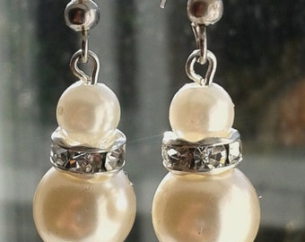 Double Cream Pearl drop Earrings with Diamante