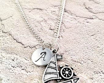 Sailboat Necklace, Initial necklace, charm necklace, for her, marine, boat, ocean life, lake life, sailing, Come sail away with me, vacation