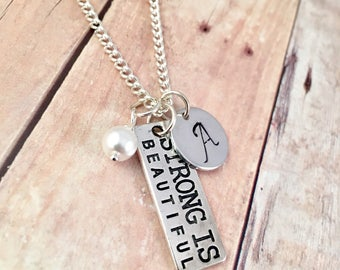 Fitness necklace, workout necklace, workout motivation, fight cancer, gift for her, Yoga, Kickboxing, cross fit, weightlifting, Mothers day