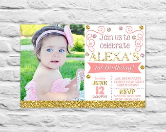 Printable Confetti First birthday Invitations gold glitter pink invite card with photo (2016-25)
