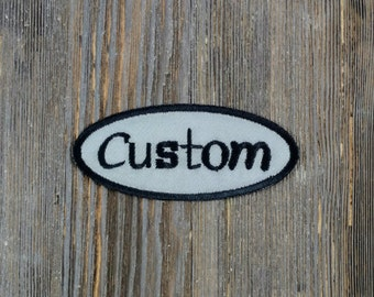 Custom Patch-Custom Name Patch-Bowling Shirt Patch- 3.5 X 1.5 Oval Patch-Custom Embroidered Patch-Personalized Patch-Gray Patch