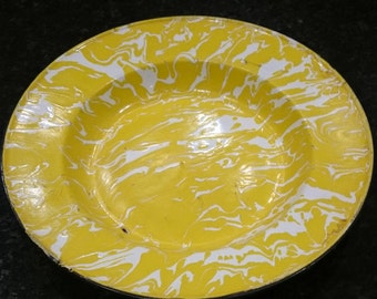 Yellow Granite Ware Plate/ Rimmed Soup/ Cowboy Plate/ Country Kitchen