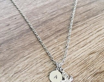 Dove necklace / personalized initial charm necklace / birth stone charm jewelry / minimalist simple necklace / dove charm / custom jewelry
