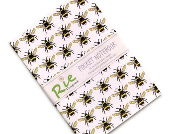 Bumblebee Notebook A6 Recycled Plain Paper Journal Jotter Notebook Sketch Bee Pocket Note Book
