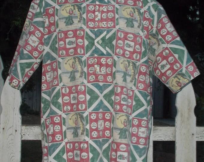 Vintage 1993 Mele Kalikimaka Reyn Spooner Red Green Cotton Christmas Reindeer Santas Sleigh Mens Short Sleeve Hawaiian Aloha Shirt 2XL