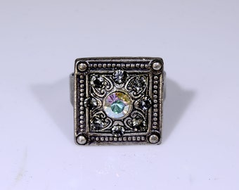 Square Blackend Silver Ring with Swarovski Crystal