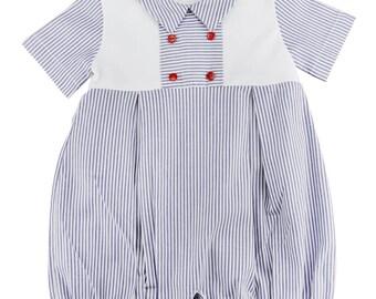 Light Blue Striped Cotton Romper