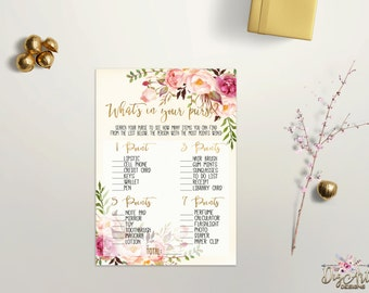 Printable Whats in your Purse Game Bridal Shower Purse Game Printable Boho Chic Baby Shower Game Floral Bridal Shower Game Digital Download