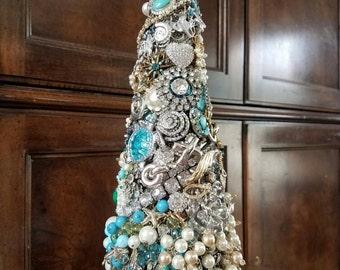 "Jeweled Christmas Tree, gift, romantic, vintage, rhinestone, heirloom, Unique birthday, Mother's Day, custom, beach, ""SEA Of PEARLS"",OOAK"