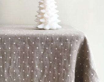 Amazing Linen Christmas Tablecloth, White Dotted Tablecloth, Stonewashed Natural Linen  Tablecloth, Rectangle Tablecloth Christmas