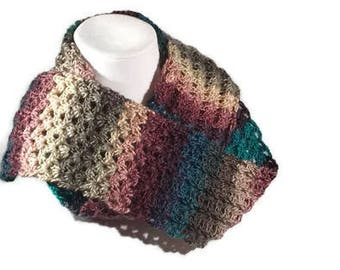 Shell Stitch Scarf - Variegated Shades of Plum, Teal, Beige, Gray - Crocheted Scarf - Gifts for Her - Fashion Accessories
