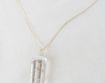 Clear Quartz Necklace, Gold Crystal Necklace Gold Plated Chain Necklace, Healing Crystal Jewelry, Natural Clear Quartz Crystal Point Pendant