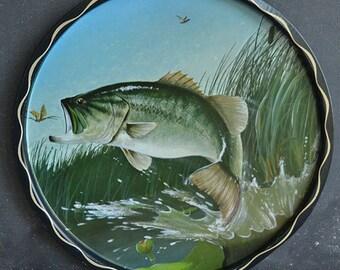 Vintage 1960s Bass Fish Serving Tray | Decorative Fish Tray | Vintage Barware