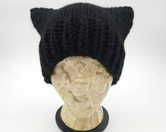 Pussycat Hat, Pussy Cat Hat, Handmade Beanie, Chunky Pussycat Hat, Black Pussycat Hat, Pussy Hat, Knit Pussycat Beanie, Knit Pussycat Hat