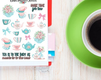 Summer Tea Party Planner Stickers | Tea Stickers | Tea Party Stickers | Summer Stickers | Floral Stickers | Teacups Teapots (S-255)