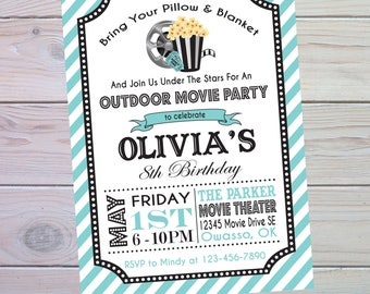 movie party invitation movie birthday invitation movie birthday party movie invitation outdoor - Movie Birthday Party Invitations