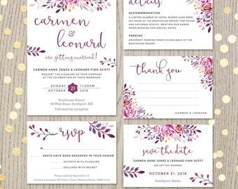 Wine Wedding Invitation Burgundy Plum, Set Suite Kit, Flowers Floral Theme  Colors, Save