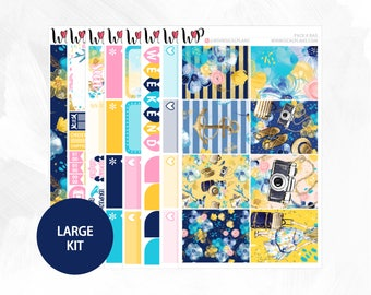 Pack A Bag Large Kit - Matte or Glossy Erin Condren Planner Stickers - Pink Yellow Navy Blue Travel Summer Vacation Nautical