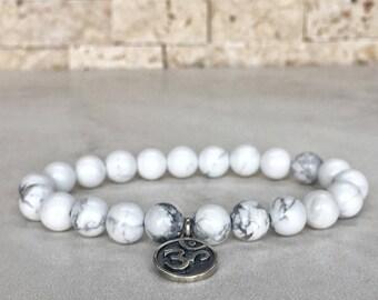 925 Sterling Silver OM Bracelet, Howlite Bracelet, OHM Bracelet, Meditation Bracelet, BuddhaBracelet, Yoga Bracelet, Yoga Gifts, Yogi Gifts