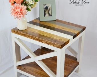 "Cottage Chic End Table - Shabby Chic Side Table - Farmhouse Table - ""X"" End Table - Rustic Wood Furniture"