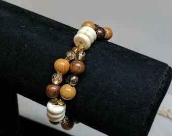 Wooden Ivory Golden Czech bracelet