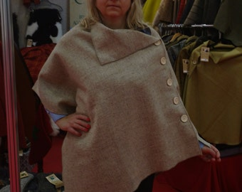 Irish tweed wool poncho, cape - 100%wool - undyed beige - ready for shipping - HANDMADE IN IRELAND