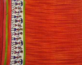 "Dressmaking Fabric, Tribal Print, Orange Fabric, Home Accessories, Sewing Crafts, Decor Fabric, 41"" Inch Rayon Fabric By The Yard ZBR183A"