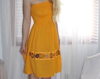 Smocked Bodice Bright Orange Sundress