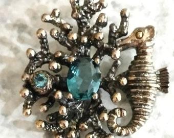 Blue Topaz Bouquet and Seahorse Pendant Necklace