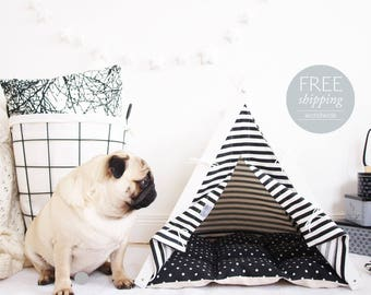 Dog house - black and white stripes (Standard size) Oh yes, FREE worldwide shipping!