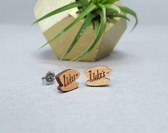 Luke's Diner Earrings - Gilmore Girls - Laser Engraved on Alder Wood - Titanium Post Stud Earring Pair