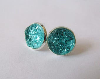 Icy Blue Druzy Earrings