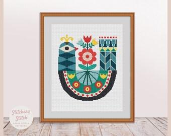 Bird cross stitch pattern, Bird cross stitch, Primitive bird, Bird embroidery, Bird pattern, Folk art, Folk bird, Primitive cross stitch PDF