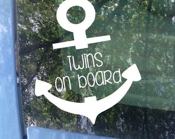Twins on board Anchor Window Decal - Car Decal - New Baby - Baby Shower Gift - Baby on board Sticker - Anchor Decal - Nautical Decal - Twins