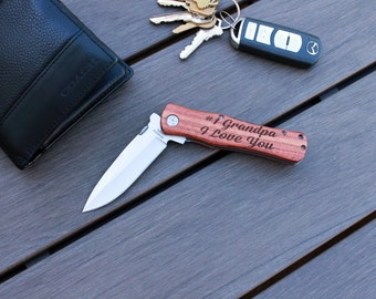 Personalized Knife, Custom Knife, Gifts for Grandpa, Pocket Knife, Custom pocket Knife, Engraved Gift for Grandpa --PK-WOOD- #1 Grandpa