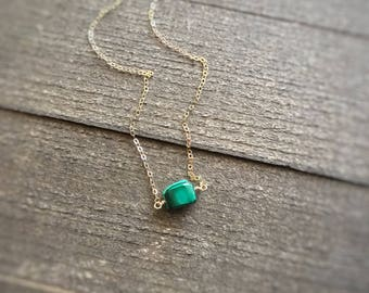 14k gold filled sterling silver tiny green malachite bead necklace / bridesmaid necklace / minimalist necklace / dainty / May birthstone