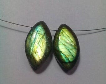 Labradorite Marques Shape Smooth Drilled Briolette Mached Pair