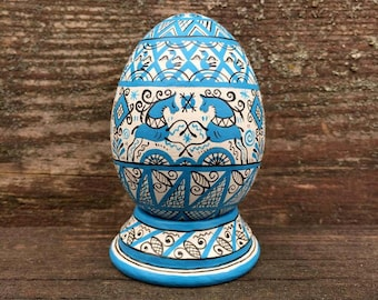 Hand Painted Easter egg, wooden egg decorated russian ornaments. Easter gift.Russian folk art. Russian painting the Mezen .