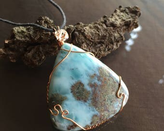 Larimar and Herkimer Diamond Necklace, Larimar Necklace