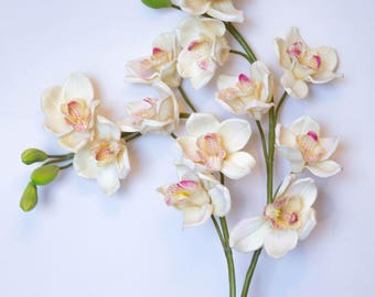 Real Touch Orchids Artificial Flowers, Cymbidium Orchid/White/Pink/Red/GreenHome Decor/Wedding Centerpiece