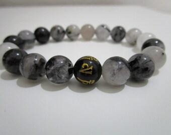 Quartz tourmaline, quartz tourmaline, semi-precious stones, Onyx bracelet mantra Yoga bracelet, gift, Unisex, gift for men,Gift for woman