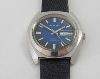 Vintage Bulova 23 Jewel Automatic With Blue Face