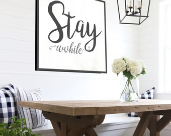 Stay Awhile Fixer Upper Decor - Gift For Her Rustic Farmhouse Sign Fixer Upper Home Decor Large Canvas Wall Decor Farmhouse Decor .75 Deep